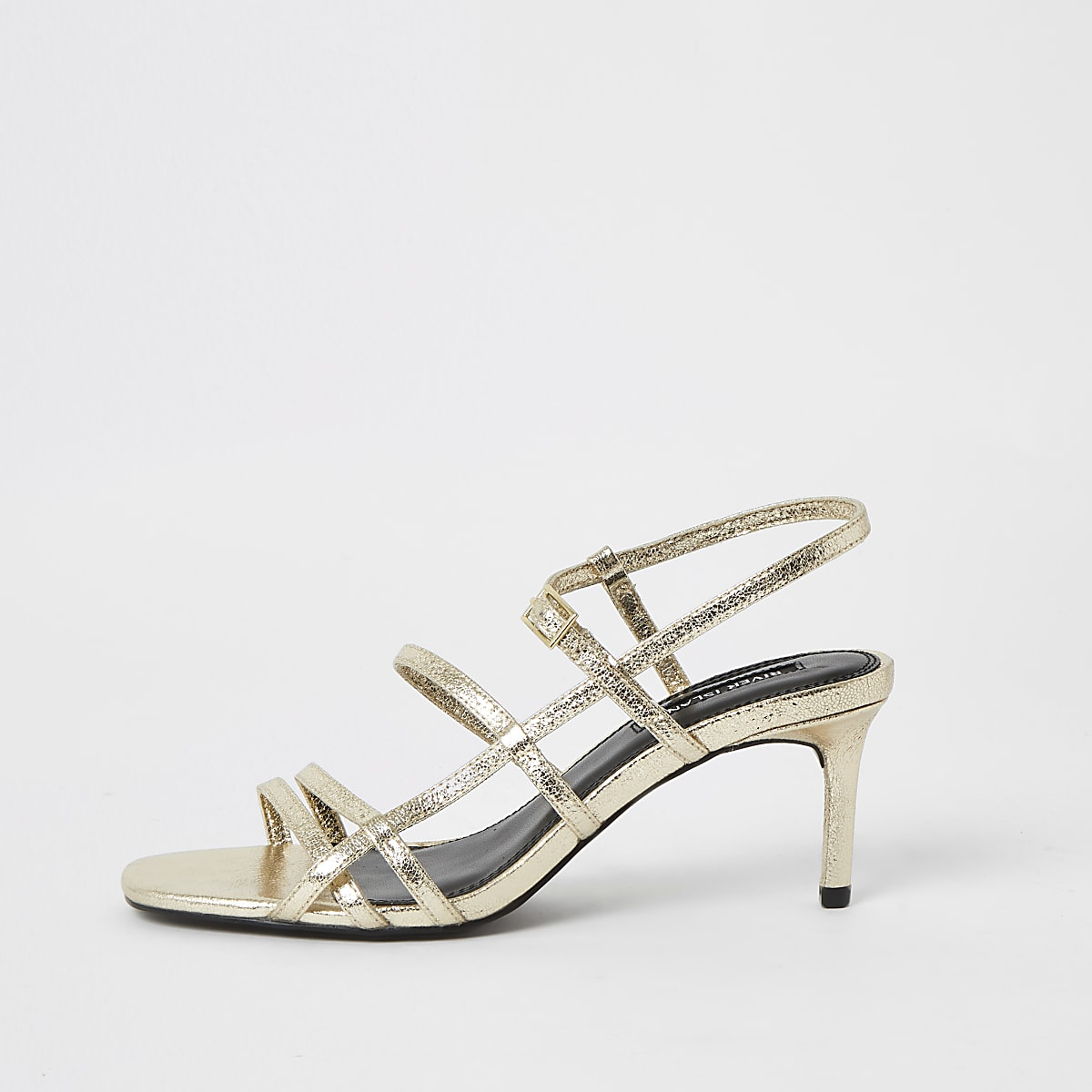 Gold metallic strappy skinny heel sandals