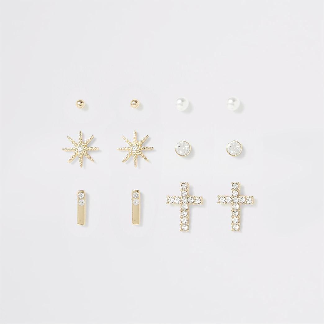 Lot de boucles d'oreilles dorées étoiles et croix