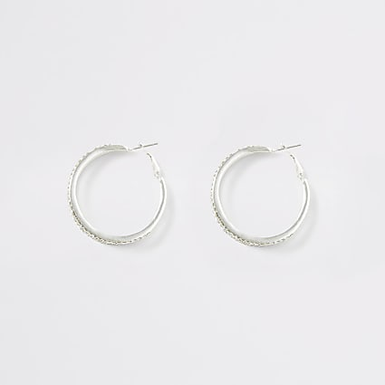 Silver colour diamante triple hoop earrings