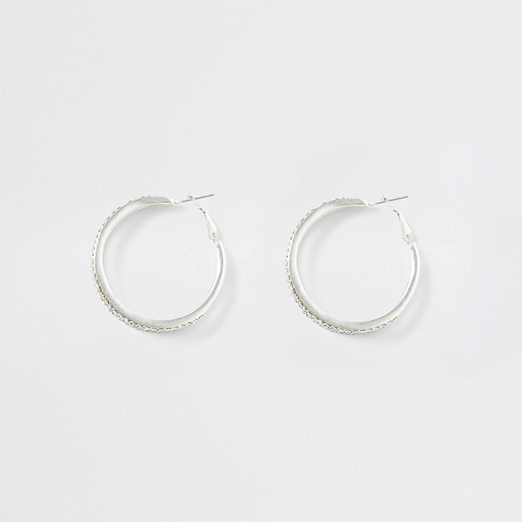 Silver colour diamante triple hoop earrings