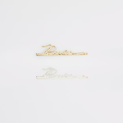 Gold colour 'River' diamante hair clip 2 pack
