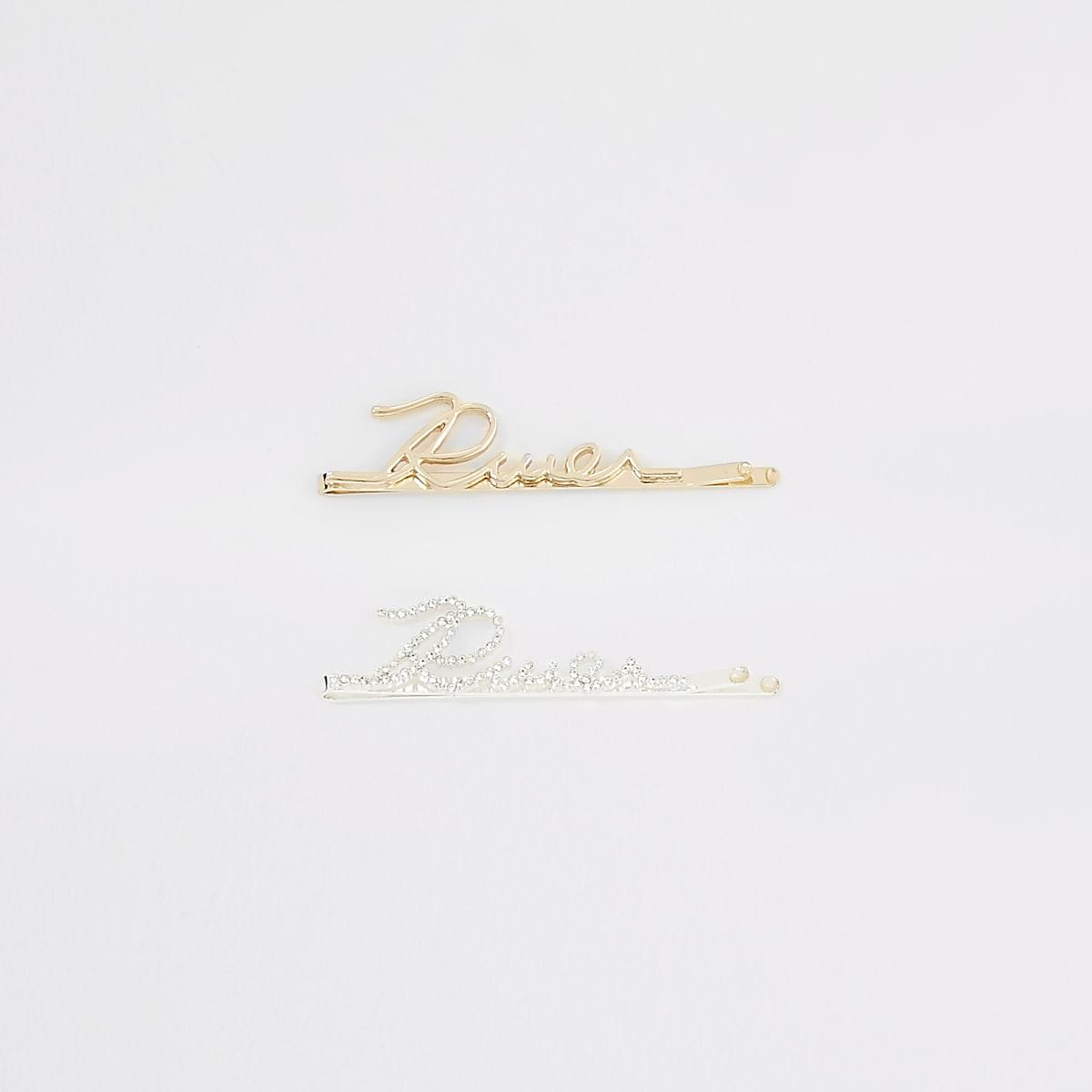 Gold colour 'River' diamante hair clip 2 pack
