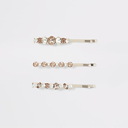Rose gold colour jewel hairclips 3 pack