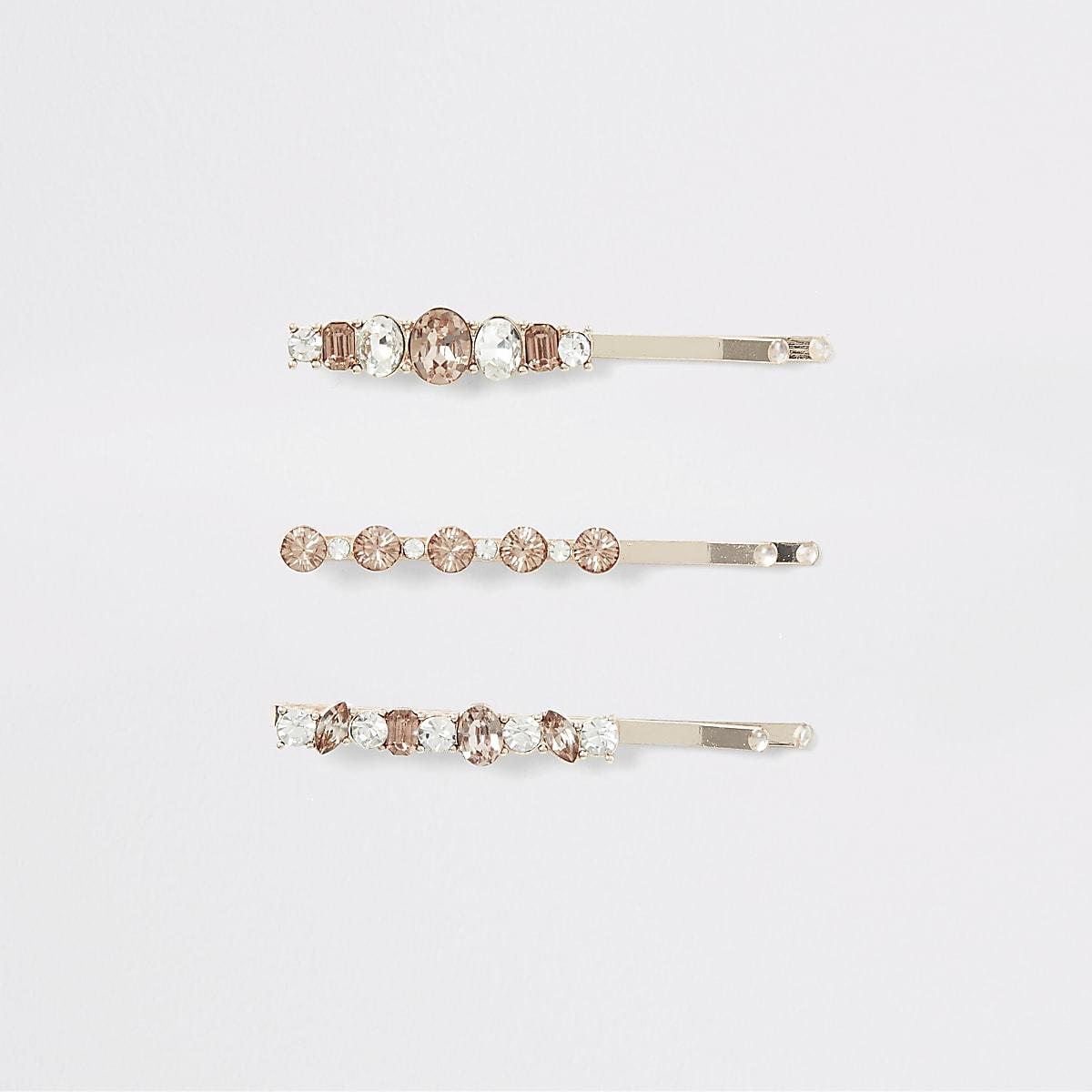 Set van 3 roségoudkleurige haarspelden met sierstenen
