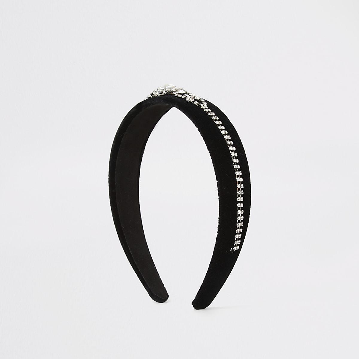 Zwarte fluwelen haarband verfraaid met siersteentjes