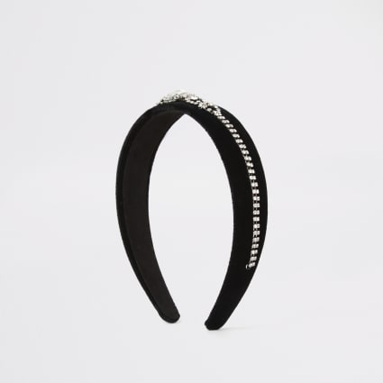 Black velvet diamante embellished headband