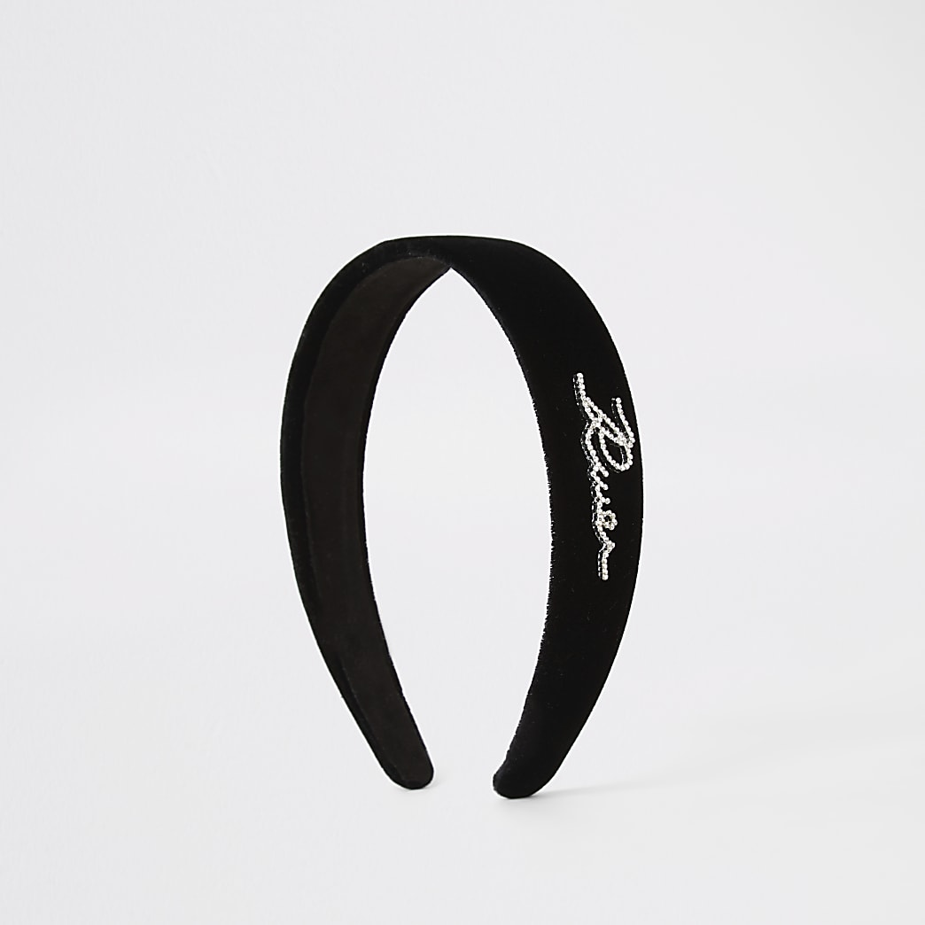 Black velvet 'River' diamante headband