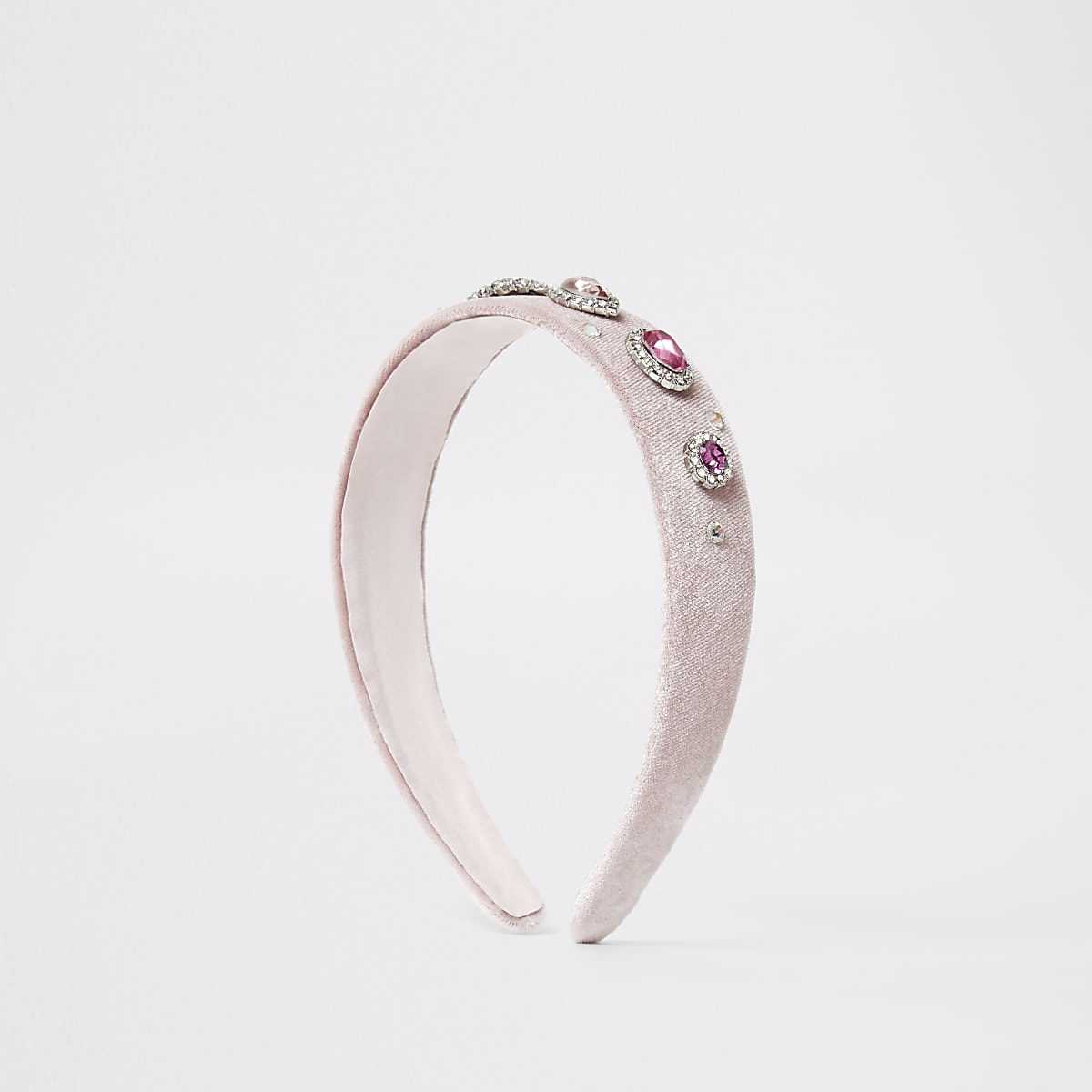 Pink velvet diamante embellished headband
