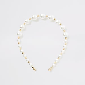 Weißer Haarreif mit Perlen