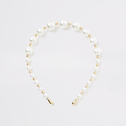 White pearl beaded headband