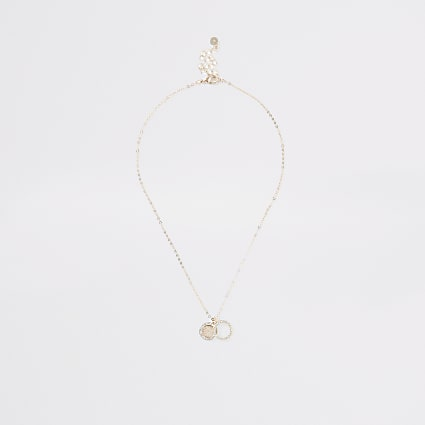 Rose gold colour diamante ring necklace