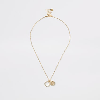 Gold colour diamante pave pendant necklace