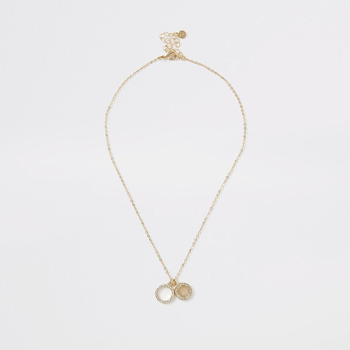 Gold colour diamante pave pendant necklace