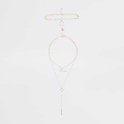 Gold colour 'River' diamante layer necklace