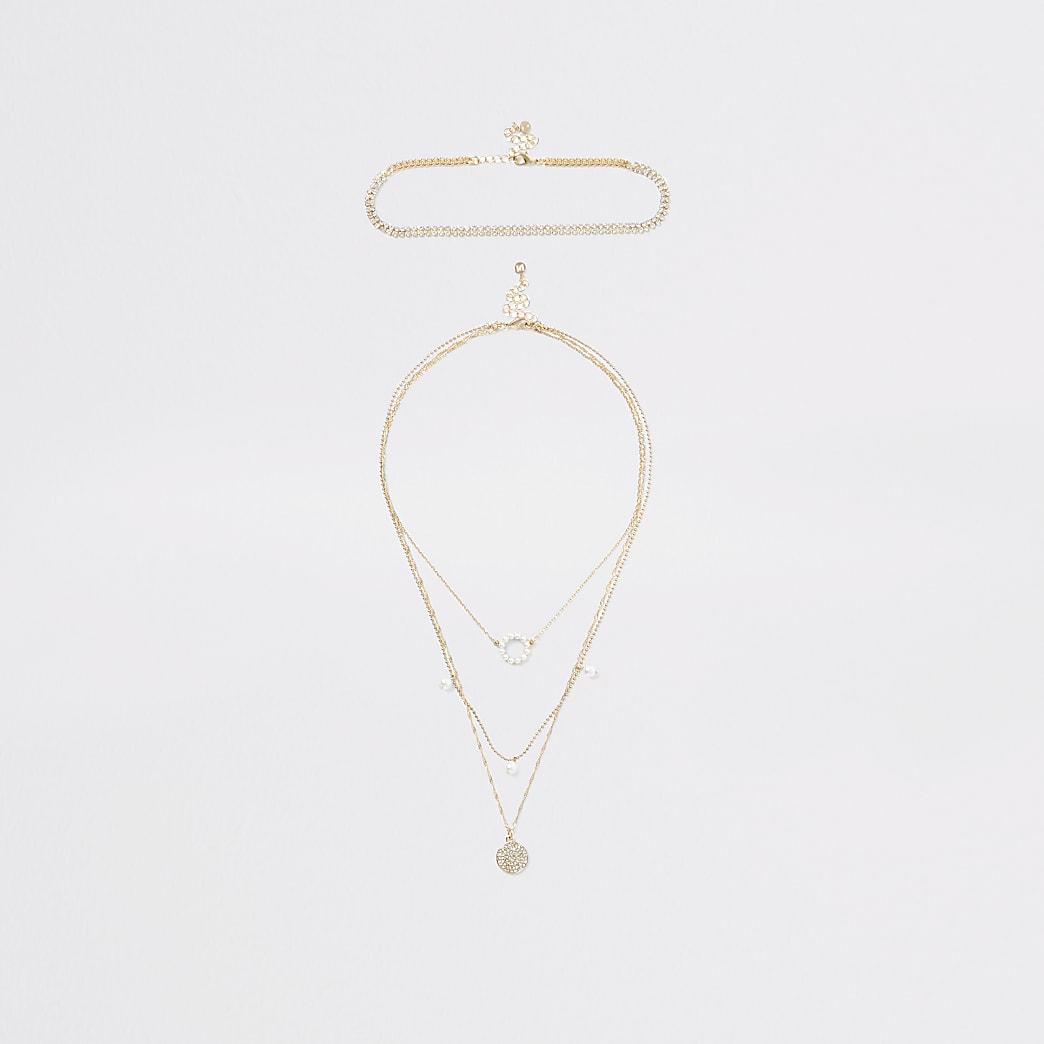 Collier mutlirang doré à perles et anneaux