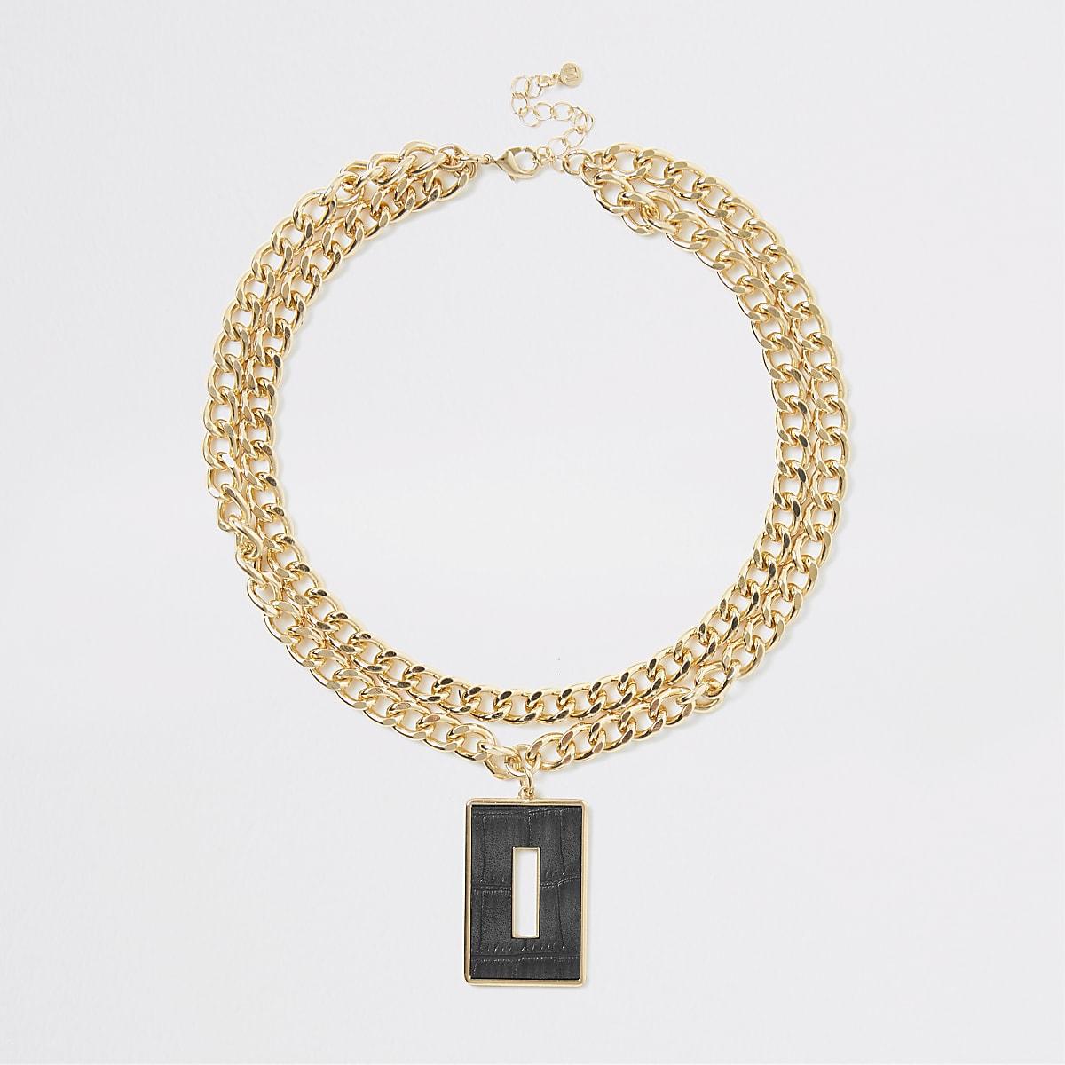 Gold colour croc embossed pendant necklace