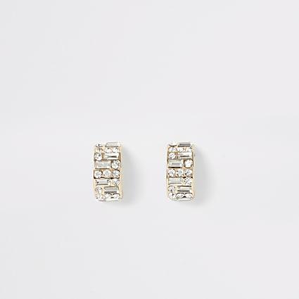 Gold colour diamante half hoop earrings