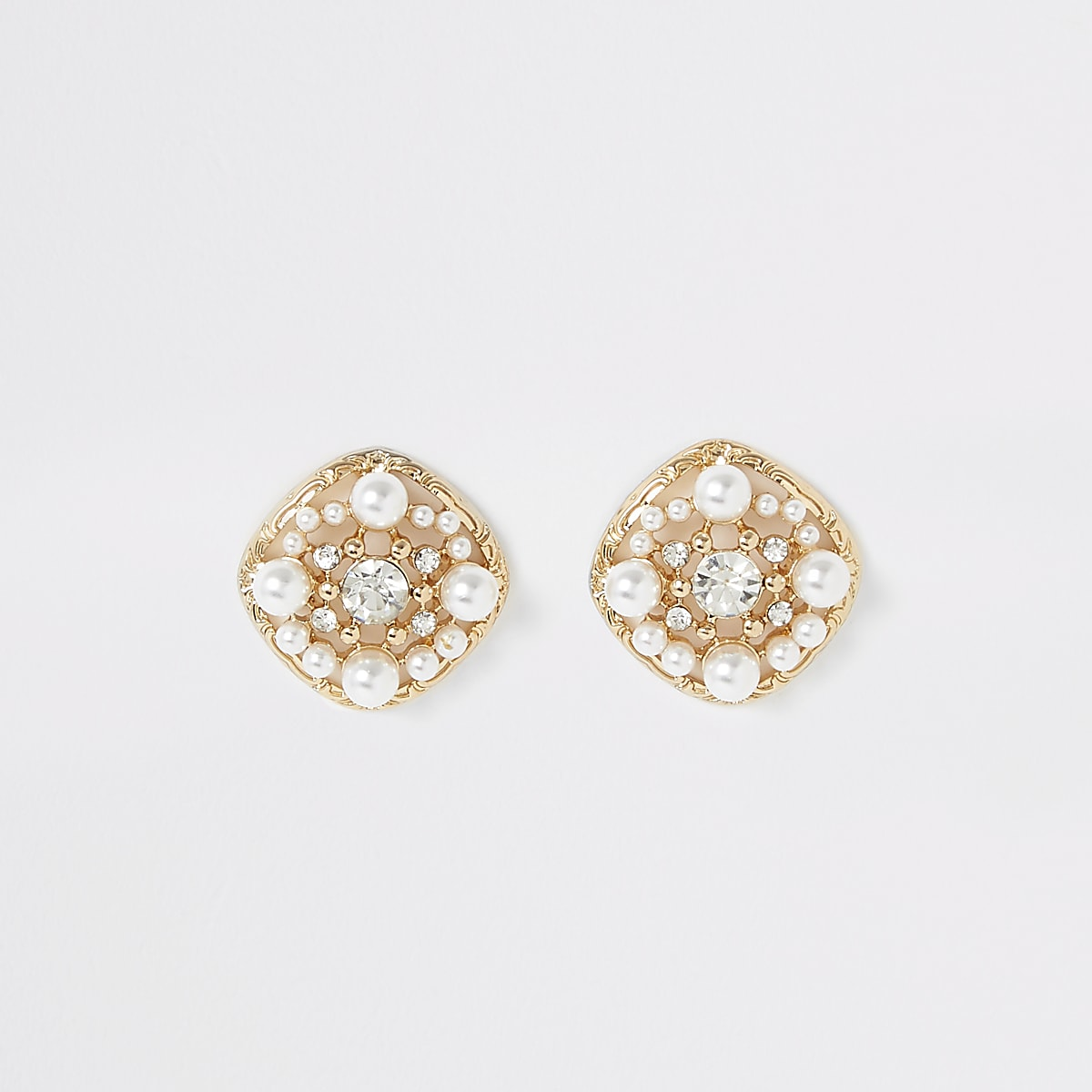 Gold colour pearl embellished stud earrings
