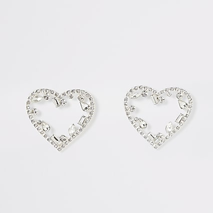 Silver colour diamante heart stud earrings