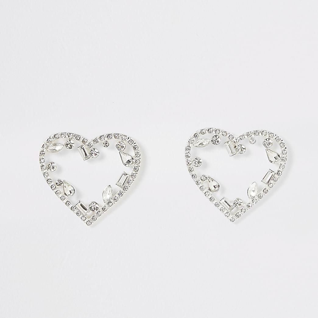 Silver colour diamante heart stud earrings