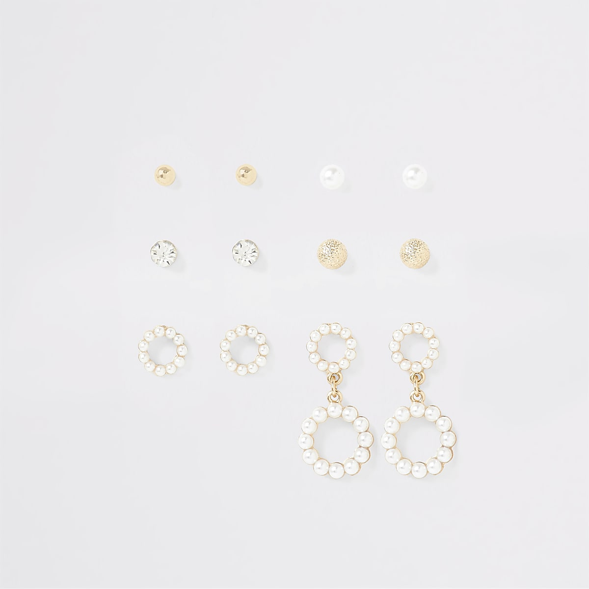 Gold colour faux pearl earring multipack