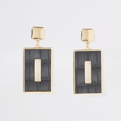 Gold colour croc embossed rectangle earrings