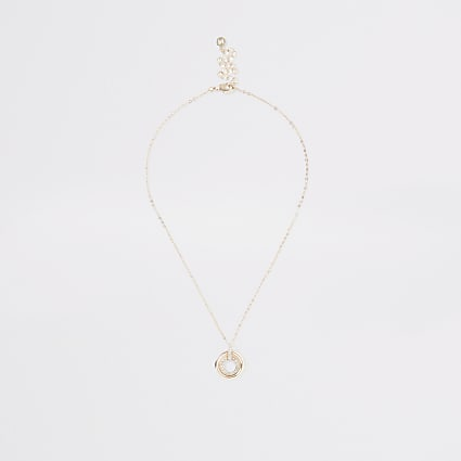 Rose gold colour double disc necklace