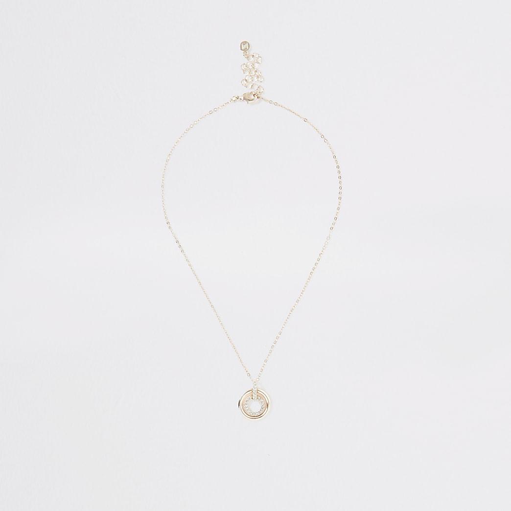 Rose gold colour double disc necklace