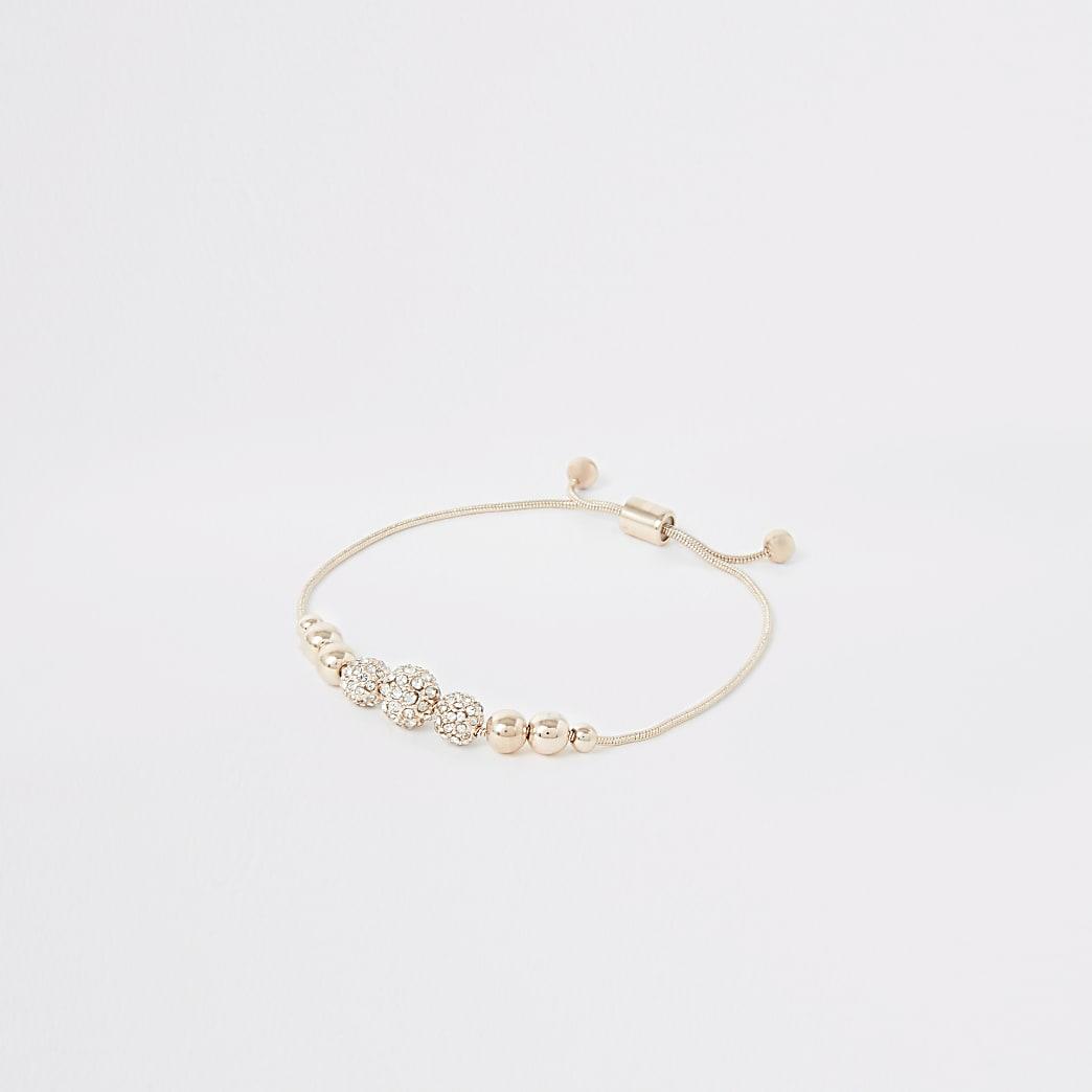 Rose gold colour diamante bead bracelet