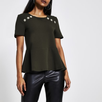 Petite green embellished shoulder peplum top