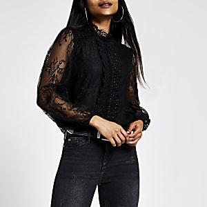 RI Petite - Zwarte doorschuinende kanten blouse met lange mouwen
