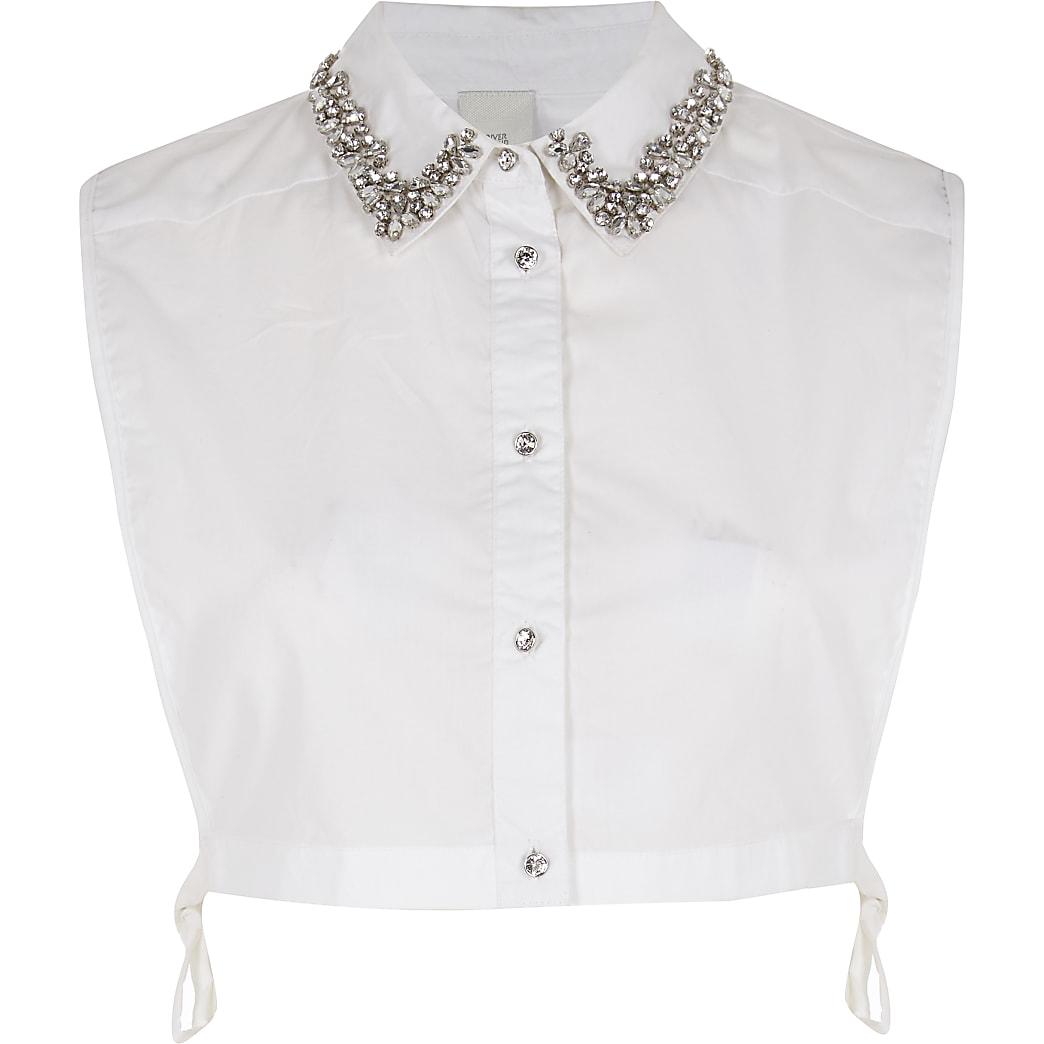 White diamante embellished collar bib