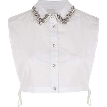 White diamante embellished collar bib