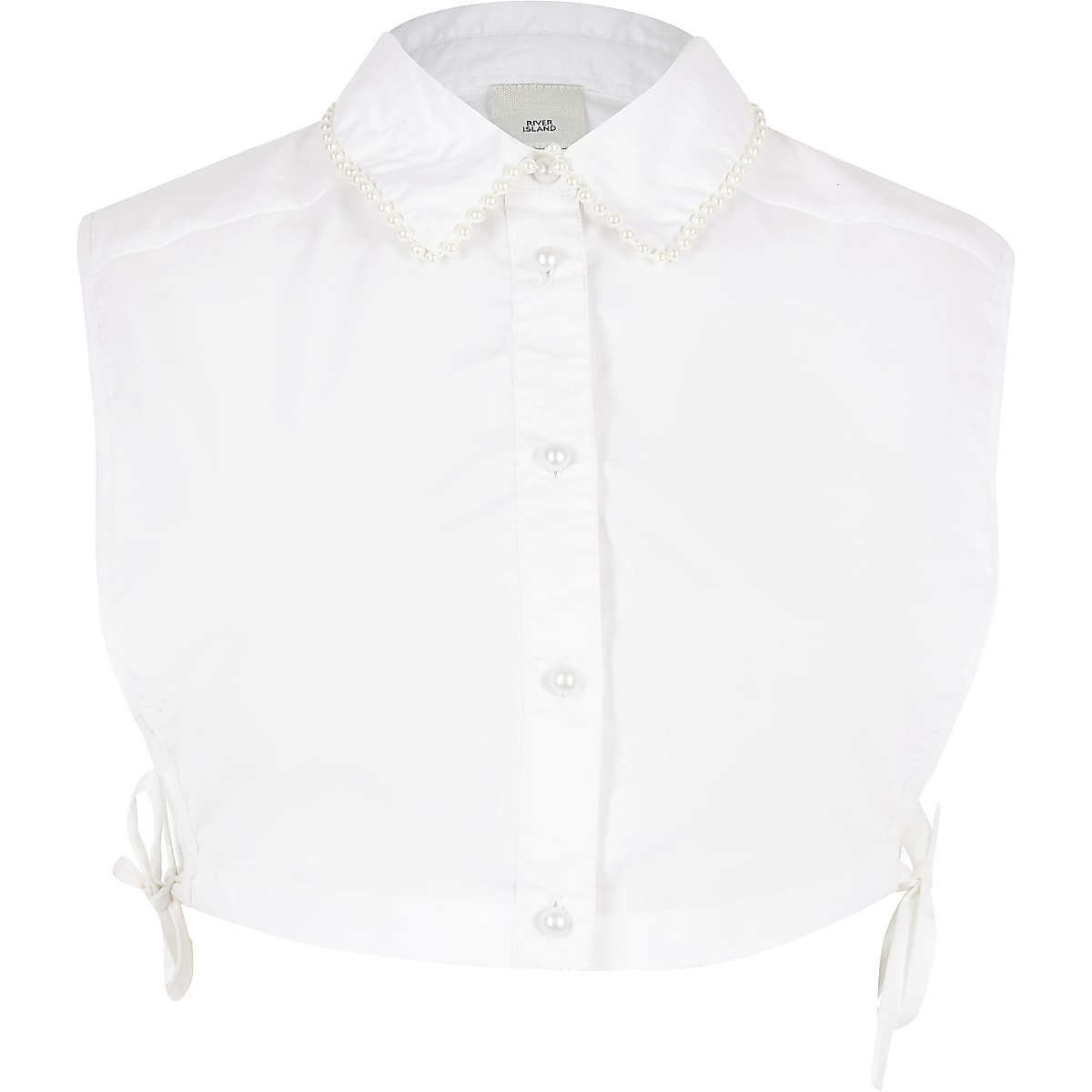 White pearl collar trim bib