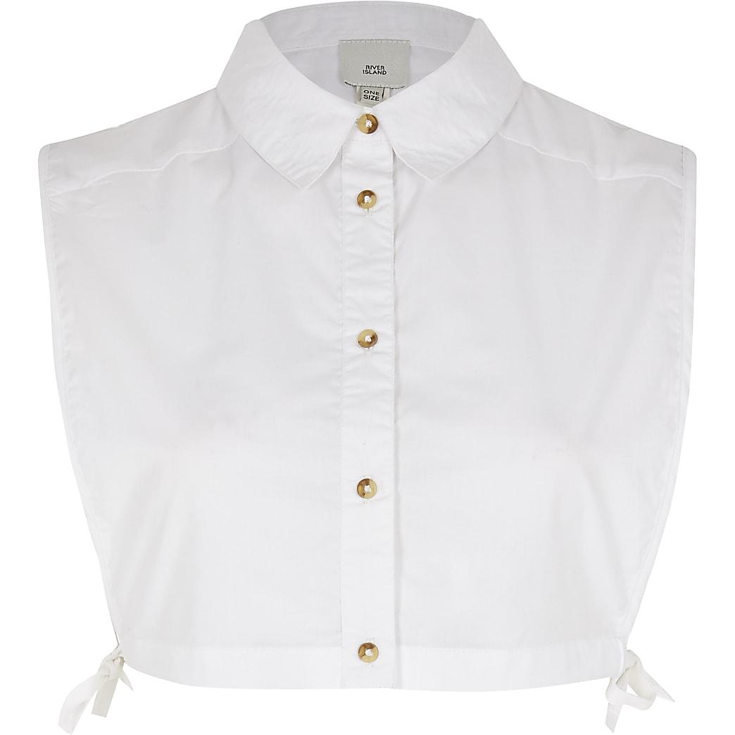 White button front linen shirt bib