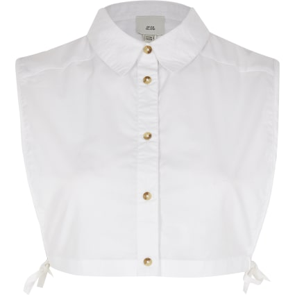 White button front linen shirt bib