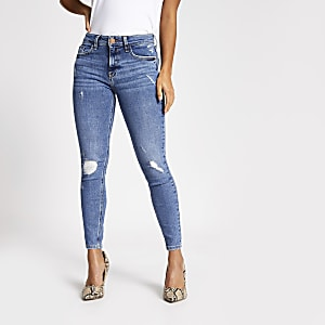 RI Petite - Amelie - Blauwe ripped superskinny jeans