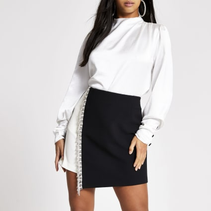 Petite black monochrome diamante mini skirt