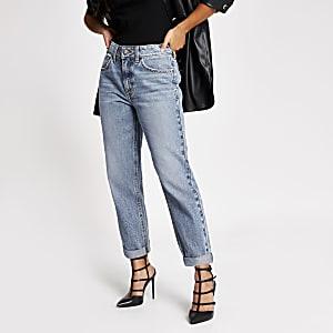 Blaue Mom-Jeans mit hohem Bund in Petite-Größe