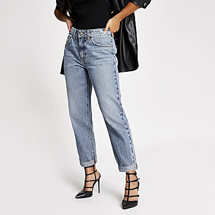 Petite blue Mom high rise jeans