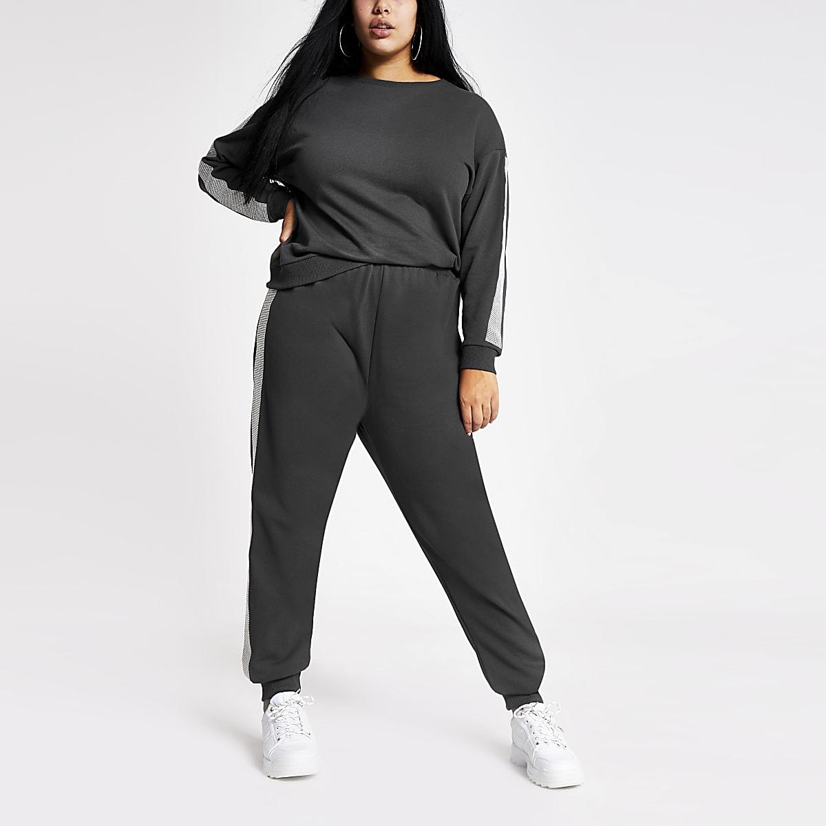 Plus grey long embellished sleeve sweatshirt