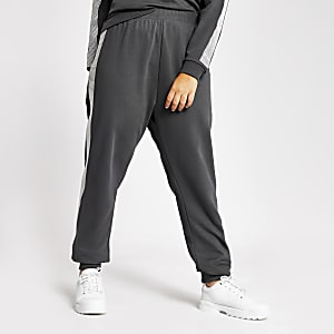 Plus - Pantalons de jogging gris avec bande latérale ornée de strass