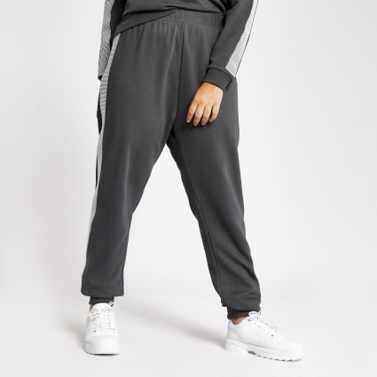Plus grey diamante embellished side joggers