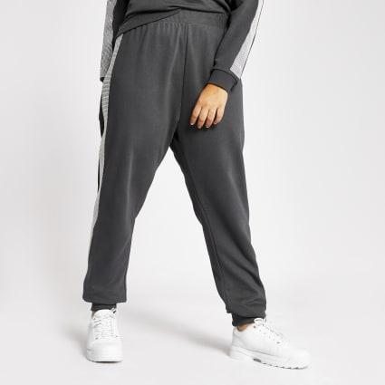 Plus grey diamante embellished side joggers