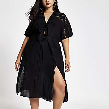 Plus black short sleeve kimono dress