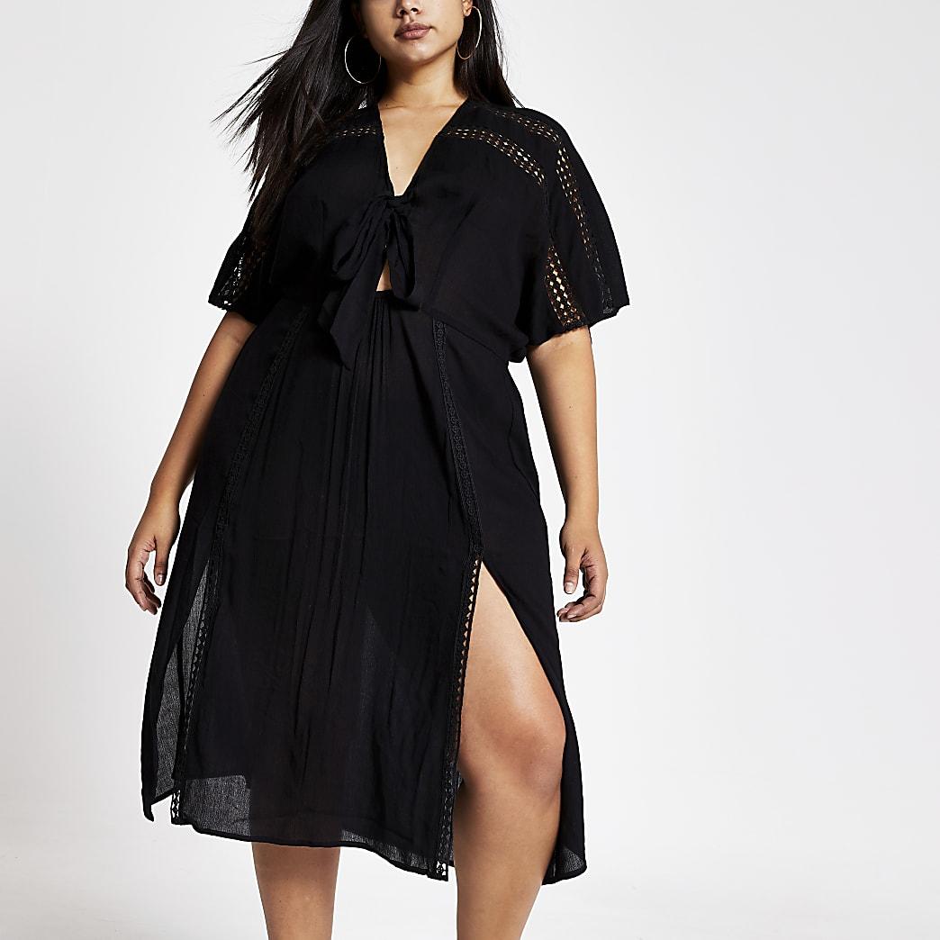 Plus black short sleeve kimono dress