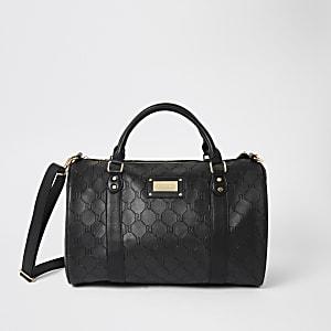 Schwarze Reisetasche mit RI-Prägung