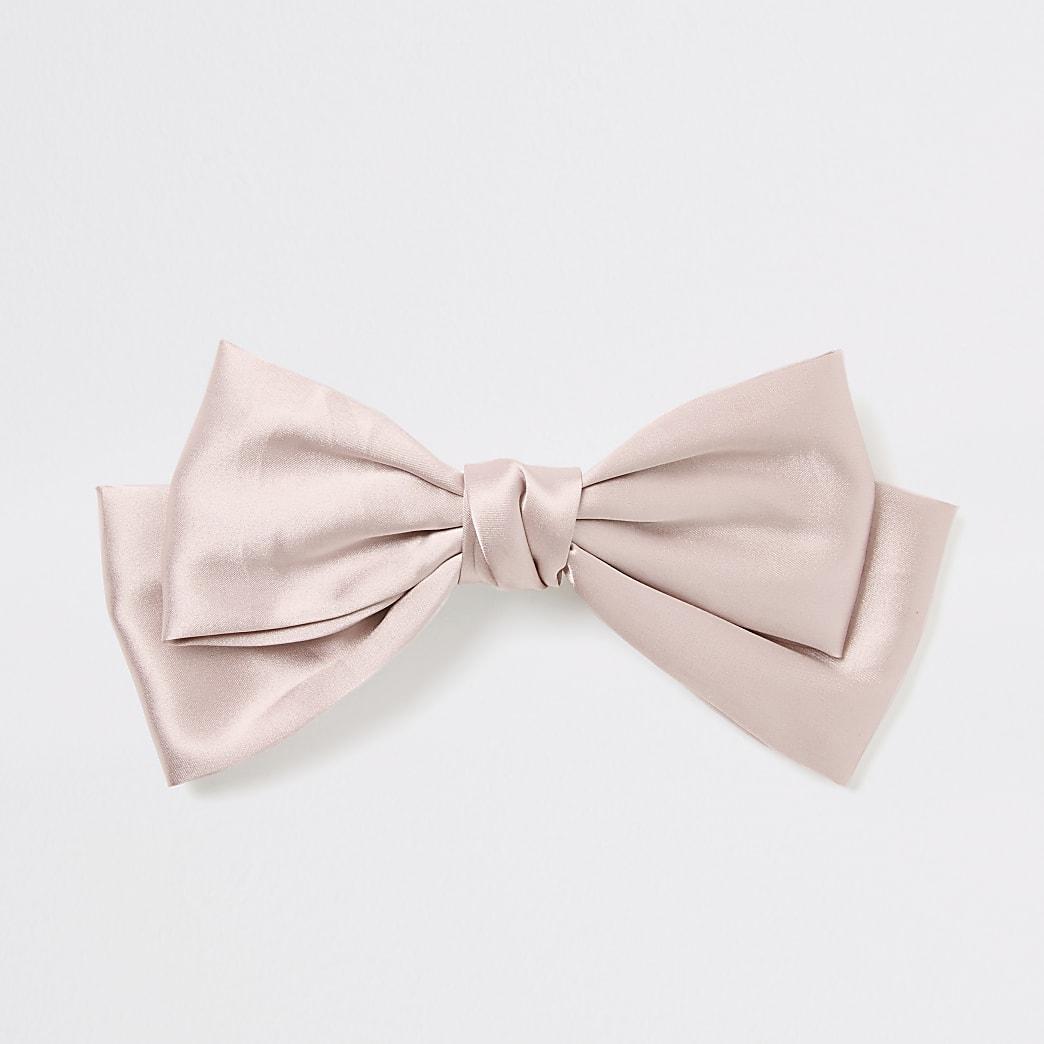Light pink satin bow hair clip