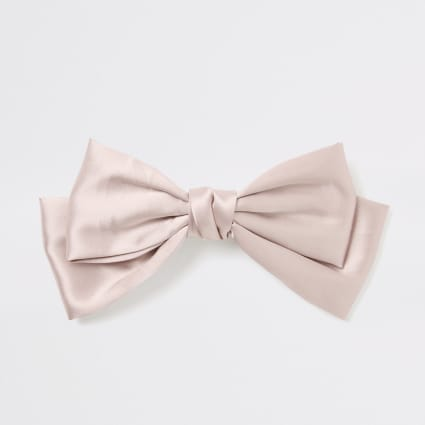 Light pink satin bow hair clip