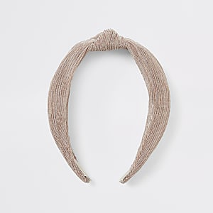 Haarreif in Hellbeige mit Knoten